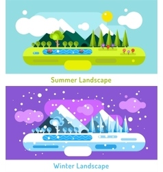 Abstract outdoor summer and winter landscape vector image vector image