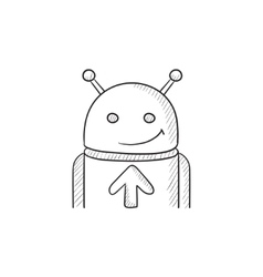 Android with arrow up sketch icon vector image