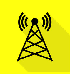antenna sign black icon with flat vector image vector image