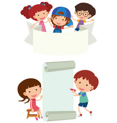 banner design with happy children vector image