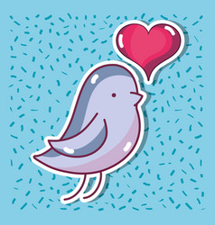 Bird dove lover with heart design vector