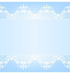 Blue background with white lace vector image vector image