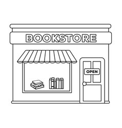 bookstore icon in outline style isolated on white vector image vector image