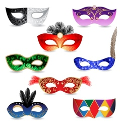Bright carnival masks icons vector