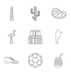 Buenos aires travel icons set outline style vector