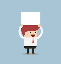 Businessman holding an empty board over his head vector image