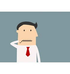 Cartoon businessman zipping his mouth vector image