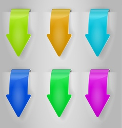 color arrows sticker set vector image vector image