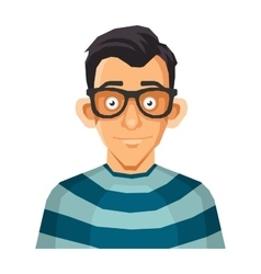 Computer Geek Face in Glasses vector image