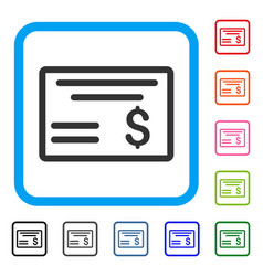 Dollar cheque framed icon vector