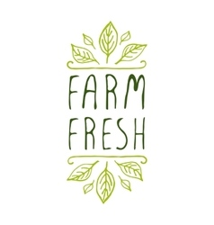 Farm fresh - product label on white background vector