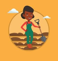 Farmer with shovel at field vector