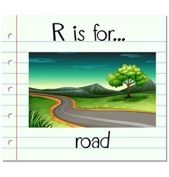 Flashcard alphabet r is for road vector
