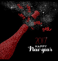 Happy new year 2017 red party bottle vector