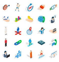 Human occupation icons set isometric style vector