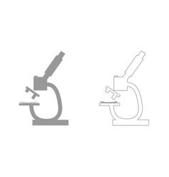 Microscope grey set icon vector