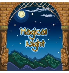 Night card with ancient frame and sculptures vector image vector image