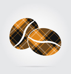 Orange black tartan icon - two coffee beans vector