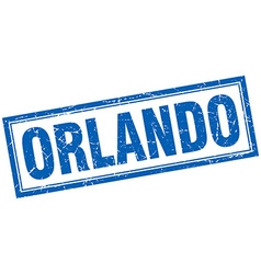 Orlando blue square grunge stamp on white vector