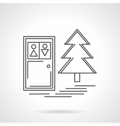 Outdoors toilet flat line design icon vector