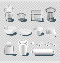 Plastic dishware or disposable tableware 3d vector