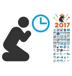 Pray time icon with 2017 year bonus pictograms vector