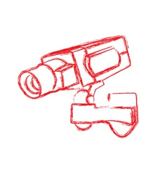 Red and white surveillance camera cctv vector