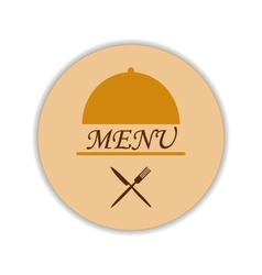 Restaurant label with cloche and flatware vector image