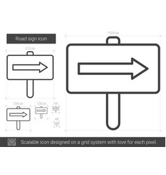 Road sign line icon vector