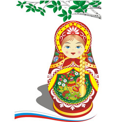 Russian nesting doll in the red outfit vector