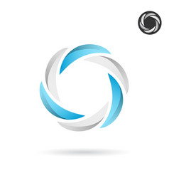 Segmented circle with blue and white sections vector