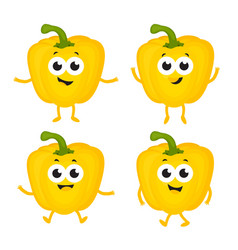 set with cartoon peppers vector image