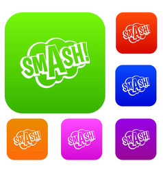 Smash comic book bubble text set color collection vector