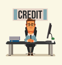 Smiling credit manager character vector