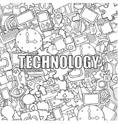 Technology background with media icons hand vector