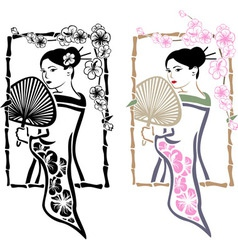 Traditional Japanese Geisha with fan vector image vector image
