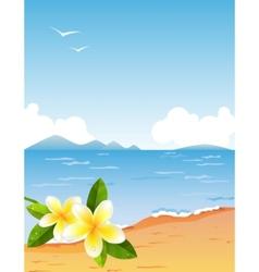 Tropic beach with frangiapani vector