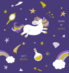Unicorn on the night sky seamless pattern with vector