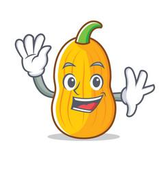 Waving butternut squash character cartoon vector