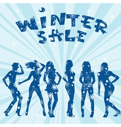 Winter sale advertising with women silhouettes vector image vector image