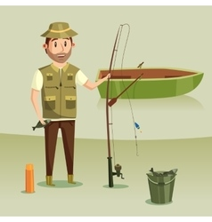Fisherman with catch of crucian in bucket rod or vector
