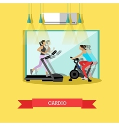Girls are doing cardio exercises in the gym vector