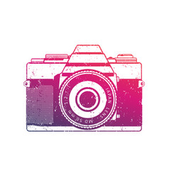 Retro camera  old analog slr over white vector
