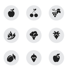 Set of 9 editable berry icons includes symbols vector