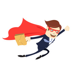 Business man superman flying with case flat style vector