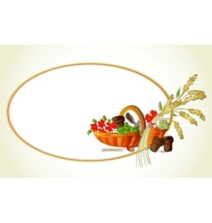 Ears of wheat flowers in the basket card vector