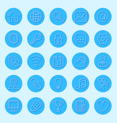 Round blue web icons vector