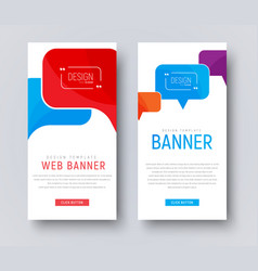 Design of white web banners with colored bubbles vector