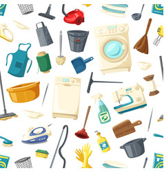 Seamless pattern of home cleaning items vector