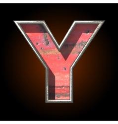 Old metal letter y vector